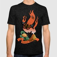 Fire Burns Mens Fitted Tee Tri-Black SMALL