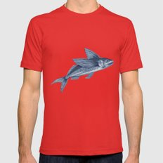 Flying Fish Drawing Mens Fitted Tee Red SMALL