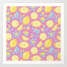 Lemon Pattern Pink Art Print