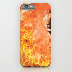Lion Rescuing Cub from the Fire iPhone 6 Slim Case