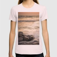 Ocean Sunset Womens Fitted Tee Light Pink SMALL