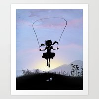 Cat Kid Art Print