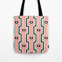 Coral Stripe Mod Tote Bag