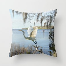 Great Egret at Lake Tarpon Throw Pillow