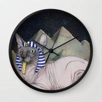 Sphynx Cat (space Bg) Wall Clock