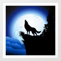 Wolf Howling At Blue Moo… Art Print