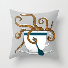 Octopus in a Teacup Throw Pillow