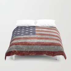 America flag with vintage retro distressed textures Duvet Cover