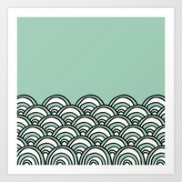 Waves Mint Art Print
