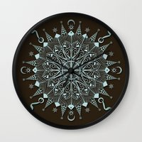 Aqua Leaf Star Mandala Wall Clock