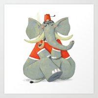 Elephant With Fez Smokin… Art Print