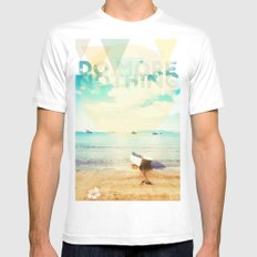 Do More Nothing White SMALL Mens Fitted Tee