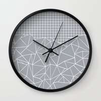 Abstract Outline Grid Gr… Wall Clock