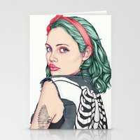 french Stationery Cards featuring GIRL by Laura O'Connor