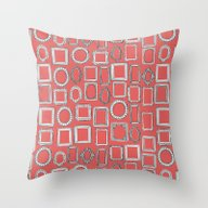 Picture Frames Coral Throw Pillow