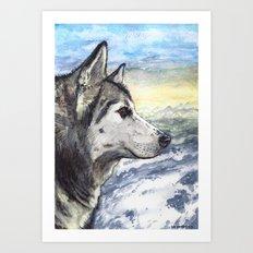Siberian Husky Watercolor Art Print