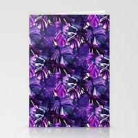 Palm Leaf Blue Purple Stationery Cards