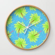 Pattern of Palm Tree-like Flowers Wall Clock