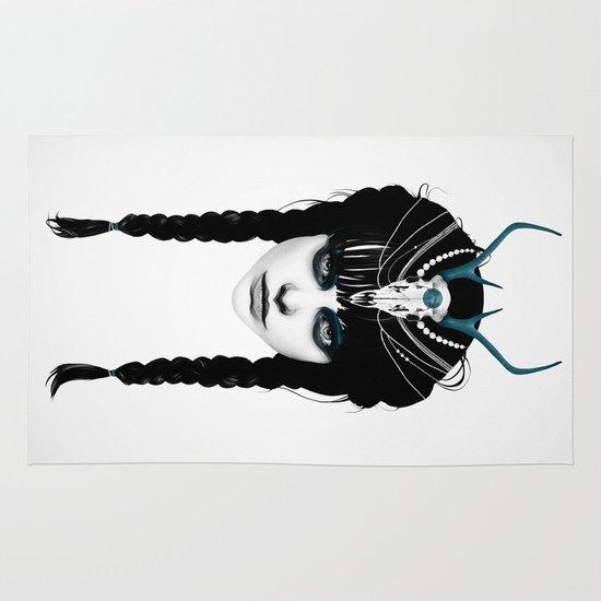Wakeful Warrior - In Blue Area & Throw Rug