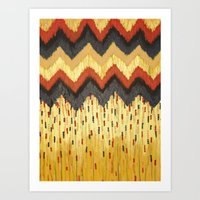 SHINE ON - Gold Glam Chevron Colorful Abstract Acrylic Pattern Painting Modern Home Decor Fine Art Art Print