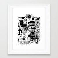 Midnight in Barcelona b&w Framed Art Print