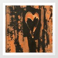 Liquid Copper Heart  Art Print