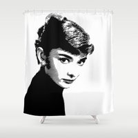 Audrey Hepburn Black and white Shower Curtain