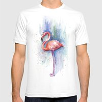 Pink Flamingo Watercolor Painting Mens Fitted Tee White SMALL