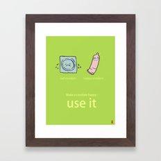 Happy Condom Framed Art Print