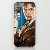 iPhone & iPod Case featuring The Tenth Doctor and His TARDIS by Emily Blythe Jones