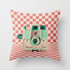 Mint Retro Camera On Red… Throw Pillow