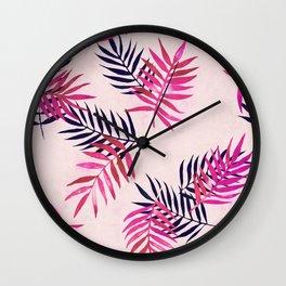 Wall Clock - Pink Palm Pattern - micklyn
