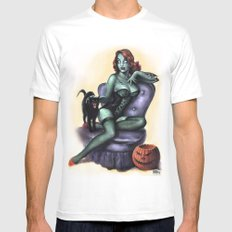 Halloween Zombie Girl Pin Up Mens Fitted Tee White SMALL