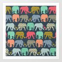 baby elephants and flamingos Art Print