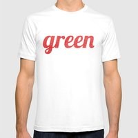 Green Mens Fitted Tee White SMALL