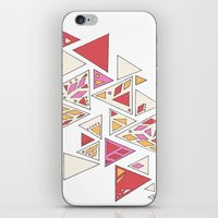 Geometric mosaic triangle pattern - red and pink iPhone & iPod Skin