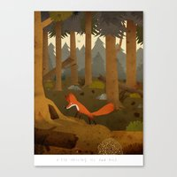 A fox smelling its own hole Canvas Print