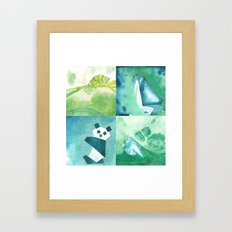 Chameleon, Bird, Penguin and Panda Bear Framed Art Print