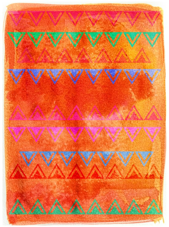 Abstract Bunting Watercolor Painting in Hot Pink, Orange, Mint & Blue Art Print