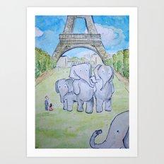 Elephants in Paris Art Print