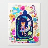 Little fox in Secret place Canvas Print