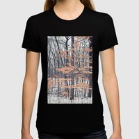 Snow in the Woods Womens Fitted Tee Black SMALL
