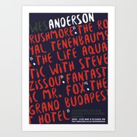 wes anderson Art Prints featuring Wes Anderson - Rushmore by Laura Mace Design