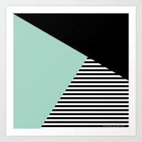 Mint Color Block With St… Art Print