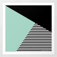 Mint Color Block with Stripes // www.penncilmeinstationery.com Art Print