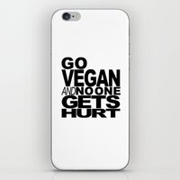 GO VEGAN AND NO ONE GETS HURT iPhone & iPod Skin