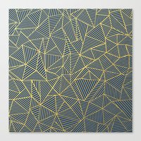 Ab Lines Gold and Navy Canvas Print