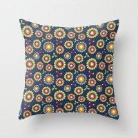 Jolly Blooms [Blue] Throw Pillow