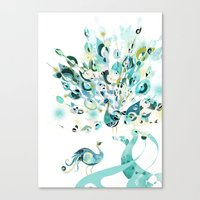 2 Peacocks Canvas Print