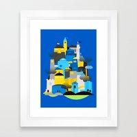 Magic Town - Blue Framed Art Print